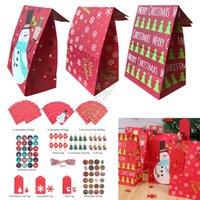 Papel kraft de Halloween Navidad bolsas de regalos juegos de pinzas + etiqueta engomada + String + Colgar + bolsa de almacenamiento Traje diseñador de moda bolsa bolsa Buggy D91708
