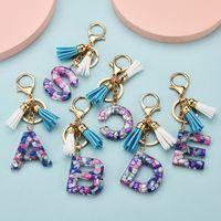 26 alfabeto inglese del sacchetto di Keychain cristallo acrilico trasparente di modo nappa Ciondolo partito regalo di Natale favore RRA3653