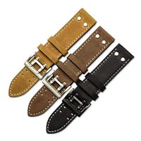 Muchas hechas a mano Vintage Crazy Horse Watch Strap Khaki Black Field Aviation Watch Band con remaches de tono de plata 22mm