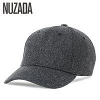 Papas de pelota Marca Nuzada Otoño Invierno Mantenga Cálido Snapback Hueso Hombres Mujeres Béisbol Hats Cap Simpl Color Negro Gris Woolen
