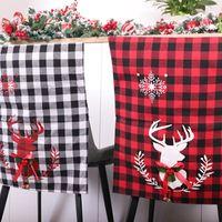 56 * 43cm Silla de Navidad Cubiertas Negro Rojo Blanco tela escocesa de la cubierta de asiento para sillas de Elk impresión del respaldo de la cubierta principal partido del Año Nuevo Decoracion IIA645
