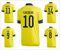 Suécia personalidade personalizada 20-21 10 Ibrahimovic 9 Berg Tailândia Qualidade Futebol Jerseys 14 Isak 17 Svanberg 13 Svensson 10 Forsberg