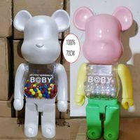Hot 1000% 70 cm Bearbrick Evade Glue White Blanco Figuras de oso de color rosa y azul Toy para coleccionistas Be @ Rbrick Art Work Trabajo Decoraciones Decoraciones Niños Regalo
