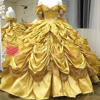 Amarillo magnífico Vestidos de quinceañera del hombro tafetán princesa gótica balón vestido de falda de las colmenas del dulce 16 18 Vestidos de baile personalizada