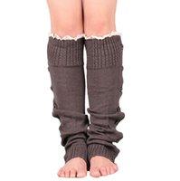 Aqueça Knitting Leg mangas Joelho Botão meias altas Knit Bota punhos pé aquecedores longo meias mulheres Ladies Lace Sapatinho mangas OOA9102