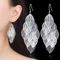 Moda Foglie ciondola gli orecchini per le donne S925 argento sterlina ha placcato lunghi orecchini del trifoglio del commercio all'ingrosso dei monili