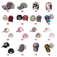 Sunflower Criss Cross Ball Cap 16 Styles Bufflao Plaid Mesh Hallow Out Baseball Caps Cactus High Messy Buns Ponycaps Party Hats CCA12540
