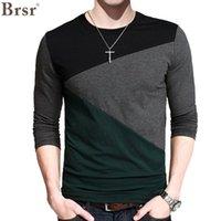Camisetas para hombres BRSR PLUS VELVET CASUAL T-shirt de manga larga Patchwork Design Street Fashion O-cuello Tamaño M-5XL