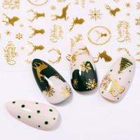 Christmas Series 3D Nail Sticker Bunte Gold-Schnee-Rotwild-Entwurf Übertragung Aufkleber Slider Aufkleber DIY Nagel-Kunst-Dekoration