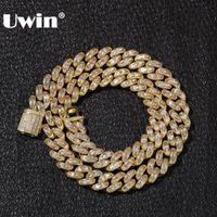 UWIN فاخر مثلج مكعب الزركون ميامي الرغيف الفرنسي الكوبية ربط سلسلة القلائد الهيب هوب حاوية فئة CZ الأزياء أعلى جودة الرجال سلسلة مجوهرات