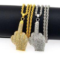 Collares colgantes estilo punk estilo gesto collar mano mujeres hombres hip hop joyería moda bling diamantes de imitación oro plata color