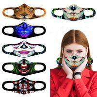 Máscara Clássica Cosplay 3D Rosto Impresso Adulto lavável 3D Boca Máscaras Tecido reutilizável impermeável máscara de poeira Anti poluição Halloween