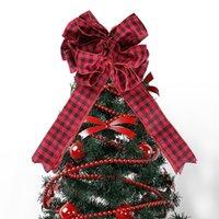 Большой размер Bowknot Christmas Tree Top украшения Новый Год украшения для Home Hotel Market School Xmas Treetop Bowknot