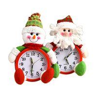 مكتب الجدول الساعات عيد الميلاد أزياء سانتا كلوز ثلج دمية شكل على مدار الساعة الرئيسية إبرة بطارية الزينة عيد الميلاد حزب ديكور