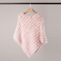 Women Spring Autumn Knit Genuine Rabbit Fur Poncho Scarves R...