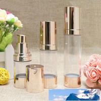 15 30 50 ml de maquiagem Frascos Cosmetic Container Airless bomba garrafas de plástico de Ouro Loção Líquido recarregáveis para Viajar cor do ouro