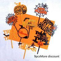9pcs Kuchen-Deckel Halloween Theme Plastikfrucht-Favoriten-Kuchen-Deckel-Kuchen-Einsatz-Karten-Tipps für die Partei-Dekoration