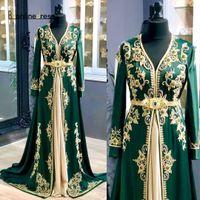 Luxe vert Caftan marocain robes de soirée 2020 à manches longues en dentelle cristal perles Robes de bal Dubaï Abaya fête officielle Robes 2020 Muslim