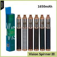 Carbon Vision Spinner 3 III Batterie fibre 1650mAh Tension variable Bas VV Vape Pen batterie pour 510 Ego CE4 Vision Atomiseur réservoir DHL