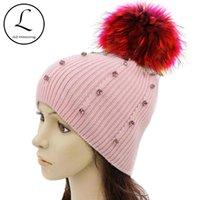 Шапочки / черепные колпачки Gzhilovingl 2021 зимние шапочки женские вязаные шерсти теплые шляпы POM Real Real Raccoon меховые черепахи шляпа для женщин печати
