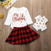 Pudcoco Newborn Baby Girl Clothes My 1st Christmas Letter Print Long Sleeve Romper Tops Plaids Mini Skirt 3Pcs Set