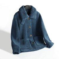 Pelliccia femminile Faux Blue Velvet Cappotto di Fascia alta Vintage Bluffy Fleece Giacche lunghe Pelliccia Donne Pelliccia Allentata Girls Girls Winterbreaker XL