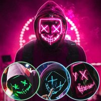 2020 Halloween LED Light Mask Light Up Party Neon Cosplay Costume Tools Party Horror Glowing Dance Masks