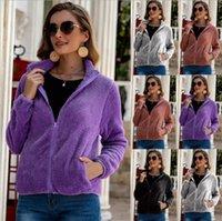Las mujeres felpa ocasional de la capa caliente suave piel de la cremallera de la chaqueta Tamaño Pocket Plus felpa Abrigo otoño invierno elegante sólido capas Outwear LSK1246