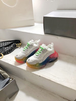 Men women casual shoes triple s clear sole neon green yellow beige gym red blue white grey black orange rainbow sole mens sneakers