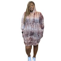 Casual Tie Dye Hooded Designer Plus Size Womens Dress Loose ...