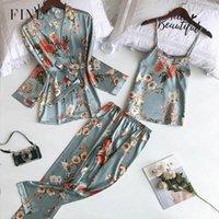 Finetoo 3pcs / set İlkbahar Sonbahar Kadınlar İpek Pijama No-pedleri Çiçek 2020 Pijama Pijama Spagetti Askı Saten Pijama yazdır ayarlar