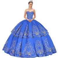 Tema classico Mexican Fiesta Charro Stile Royal Blue Satin pannello esterno a file Ricamo 2 Pezzi staccabile Quinceanera Ball Gown Ragazze