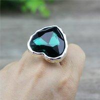 Trouwringen Anslow Trendy Retro Paar Mode-sieraden Big Heart Crystal Lovers Promise for Women Engagement Ring Low0052ar