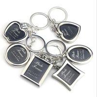 UPS 페덱스 빈 금속 사진 키 체인 참신 심장 애인 열쇠 고리 사진 열쇠 고리 매력 홀더 열쇠 고리