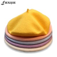 2020 Winter billig 100% Wolle Solid Color Beret Caps Female Bonnet Frauen Kappen Lady Painter Alle Matched Warm Gehen Hut-Großverkauf