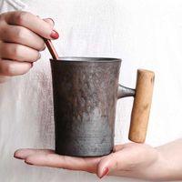 الإبداعية اليابانية السيراميك القهوة القدح بهلوان الصدأ الصدأ مع مقبض خشبي حليب البيرة كأس ماء المنزل مكتب drinkware 300ML