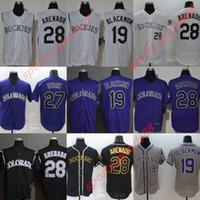 20 20 Colorado Jersey 28 Nolan Arenado 19 Charlie Blackmon 27 Trevor História Temporada Homens / Mulheres Felx Cool Base Duplo Stitched Baseball Camisas