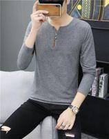 Повседневная мужская V шея Тонкого Tops Сплошного цвета Мужской дизайнерское Tshirts кнопка мода с длинным рукавом Футболка полосатой Печати