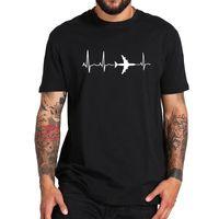 Avião camiseta Tanque de aviação Cardiogram entusiastas superiores Tops camisetas T-shirt ocasional do presente do presente do lazer do algodão