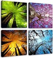 Toile Art Art Spring Summer Automne Hiver Four Saisons Paysage Couleur Arbre Peinture Picture Oeuvre Moderne pour salon Décoration de la maison