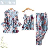 여성 잠옷 숙녀 밤 정장 봄 가을이지웨어 Pijamas 200919위한 잠옷 섹시 란제리 꽃 인쇄 잠옷 가운을 설정합니다