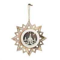 2020 decoração de Natal de madeira recorte pentagrama árvore de Natal ilumina estrela forma da árvore da bola pingente ornamentos 9.23