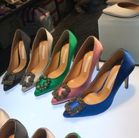 2020 NEW Green Mercerized Denim Wedding Shoes Silver Rhinestone High Heels Women's Shoe Wedding Bridal Shoes 35-42 Without Box