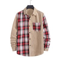 Plaid Patchwork Loose Mens Shirts Spring Autumn Long Sleeve ...