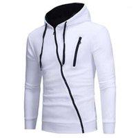 Mode Slim Casual capuche Cardigan Homme Nouveau manches longues Sweat-shirts Vêtements de sport Diagonale Zipper Homme Hoodies