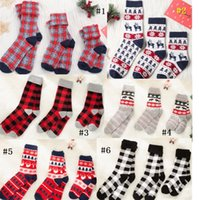 Männer Frauen Weihnachtssocken Weihnachtsmann Elk Plaid Strumpf Kinder Eltern-Kind-Karikatur-Socken-Warmer Winter-0-6Y Baby Familie Socken D91006