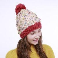 MingJieBiHuo Korean new fashion hand-knit autumn and winter new diamond-shaped floral mixed-knit wool warm cute ladies hat