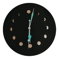 레트로 스타일 달의 위상 목재 형광 벽 시계 음소거와 백라이트 간단한 홈 장식