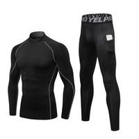 Термобелье наборы Мужчины Высокий воротник зимы Лонг Джонс Термо белье сжатия Sweat быстрой сушки Термическая одежды