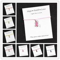 Großhandel Hoffnungs-Rosa-Band-Brustkrebs-Bewusstseins-Anhänger-Wunsch-Karte Charm Armband für Frauen Männer Mädchen-Freundschaft-Geschenk 1pcs / lot